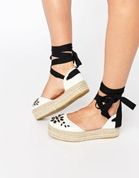 Carvela Leather Embellished Espadrille White Leather