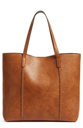 Phase 3 Faux Leather Tote Brown Cognac