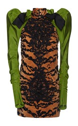 Dsquared2 Embroidered Puff Sleeve Mini Dress Brown Black Green