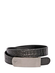 Giuseppe Zanotti 30Mm Crocodile Embossed Leather Belt Black