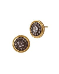 Freida Rothman Nautical Button Stud Earrings Black Gold