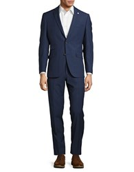 Ted Baker Checked Wool Pants Suit Blue
