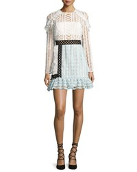 Self Portrait Frill Trim Paneled Lace Dress White Black Baby Blue