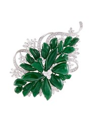 Lc Collection Diamond Jade 18K White Gold Floral Brooch Metallic