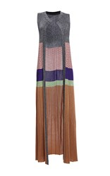 Missoni Open Front Multi Stripe Long Cardigan Grey Brown Pink