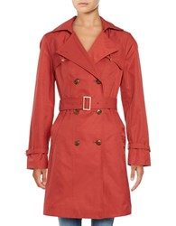 Cole Haan Solid Double Breasted Trench Coat Guava