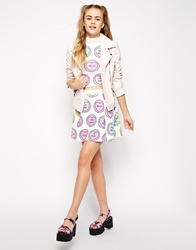 Ichiban Mini Skater Skirt With All Over Love Heart Valentines Print Co Ord White