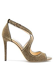 Jimmy Choo Emily 100Mm Glitter Sandals Gold