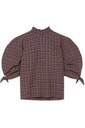 Paper London Rose Checked Wool Blend Top Burgundy