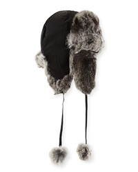 Adrienne Landau Rabbit Fur Trapper Hat