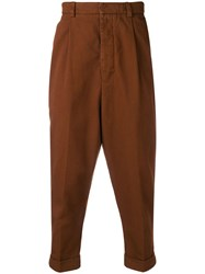 Ami Alexandre Mattiussi Oversized Carrot Fit Trousers Brown