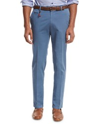 Isaia Flat Front Twill Trousers Blue
