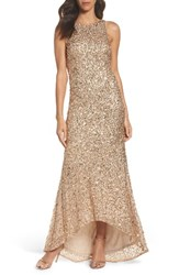 Adrianna Papell Women's Sequin High Low Gown Champagne Gold