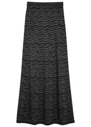 M Missoni Black Metallic Fine Knit Maxi Skirt