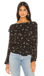 Bella Dahl Ruffle Long Sleeve Blouse In Black. Scattered Floral