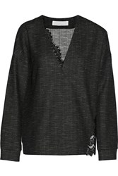Thakoon Lace Paneled Poplin Top Gray
