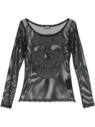 Hysteric Glamour Skull Face Detail Mesh Top Black
