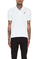Comme Des Garcons Play Small Red Emblem Cotton Polo In White