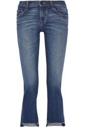 J Brand Selena Distressed Cropped Mid Rise Bootcut Jeans Mid Denim