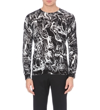 Sandro Smoke Oil Print Knitted Jumper Black