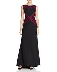 Tadashi Shoji Geometric Embroidered Gown Red Rock Multi