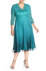 Plus Size Women's Komarov V Neck Ombre Chiffon A Line Dress