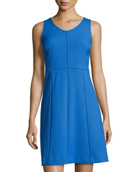 Marc New York By Andrew Marc Open Stitch Sleeveless A Line Dress Moroccan Blue
