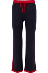 Madeleine Thompson Maude Striped Cashmere Track Pants Navy Gbp