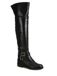 Gianvito Rossi Leather Over The Knee Flat Boots Black