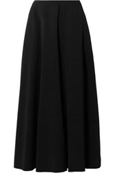 The Row Mara Stretch Crepe Midi Skirt Black