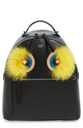 Fendi 'Monster' Leather Backpack With Genuine Fox Fur And Snakeskin Trim