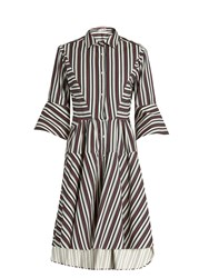 Palmer Harding Flounce Sleeve Striped Cotton Blend Shirtdress Blue Multi