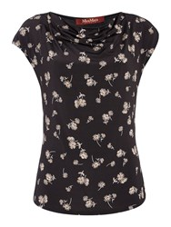 Max Mara Giberna Cap Sleeve Printed Top With Cowl Neck Black