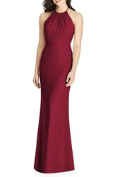 Dessy Collection 'S Ruffle Back Chiffon Halter Gown Burgundy