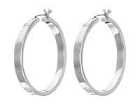 Cole Haan Logo Rivet Large Hoop Earrings Light Rhodium Earring Silver