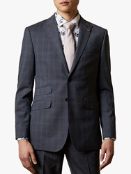 Ted Baker River Wool Check Suit Jacket Navy
