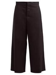 Marni Cropped Wide Leg Cotton Blend Twill Trousers Black