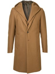 Attachment Hooded Single Breasted Coat Brown