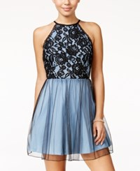 Speechless Juniors' Lace Halter Fit And Flare Dress Light Blue Black