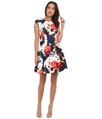 Vince Camuto Cap Sleeve Fit Flare Dress W Faux Leather Trim Print Women's Dress Multi