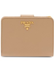 Prada Small Leather Wallet Neutrals