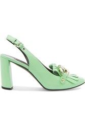 Casadei Chain Trimmed Patent Leather Pumps Light Green