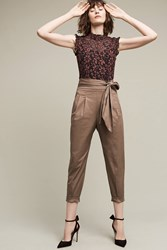 Anthropologie Bowtied Joggers Taupe