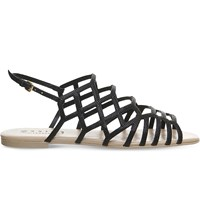 Office Beau Lizard Embossed Flat Sandals Black Embossed
