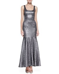 Yoana Baraschi Blue Sleeveless Metallic Leopard Print Mermaid Gown Pewter