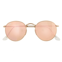 J.Crew Ray Ban Retro Round Sunglasses With Flash Lenses Gold Flash Pink