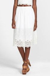 Lucca Couture Eyelet Midi Skirt Juniors White