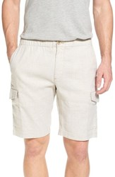 Tommy Bahama Beach Authentic Fit Linen Blend Cargo Shorts Stone Khaki