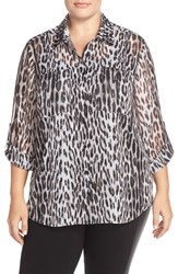 Plus Size Women's Michael Michael Kors Studded Collar Shirt With Metallic Detail Black
