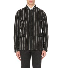 Tomorrowland Striped Wool Jacket Charcoal Bk